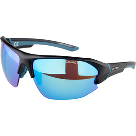Alpina Lyron HR Gafas, black matt/blue/blue mirror